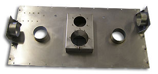 Stainless air flow mounting plate for the medical industry.